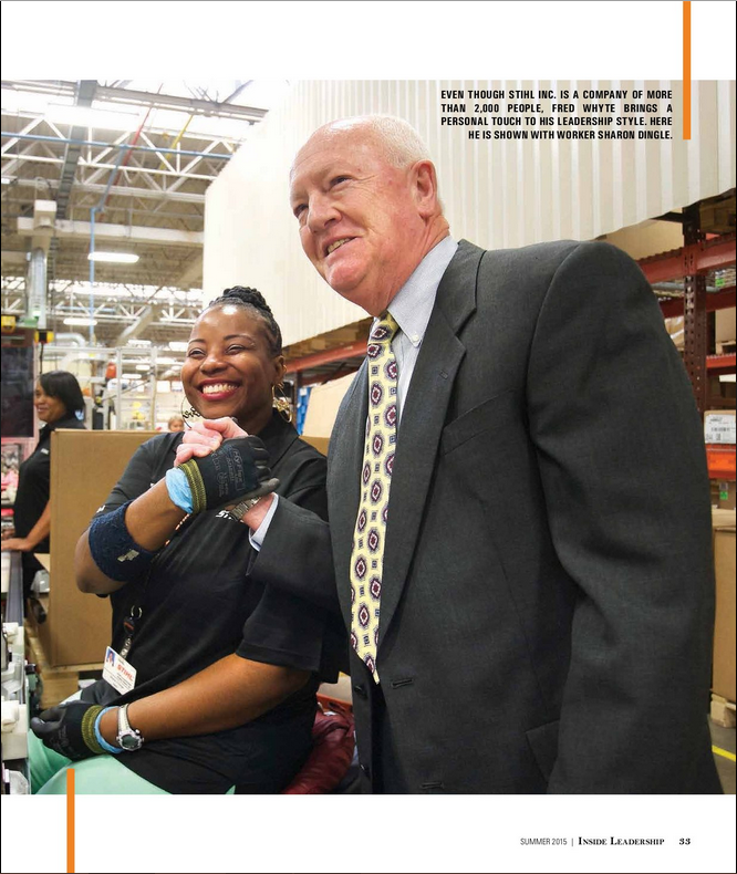 Fred Whyte, president of Stihl Inc., shown with line employee Sharon Dingle. The article by Nora Firestone explores the man behind Stihl's U.S. division and what makes him tick as a leader.