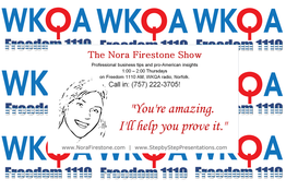Nora Firestone Show on WKQA radio banner.