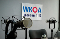 Picture of microphones at WKQA radio studio in Norfolk, Va. Photo by Nora Firestone.